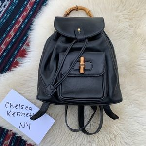 Gucci vintage mini leather backpack bamboo bag